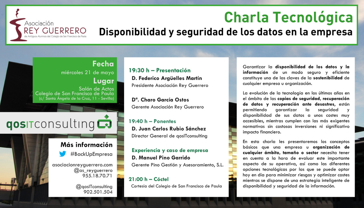 Talk on availability and security of Business data at the San Francisco de Paula College