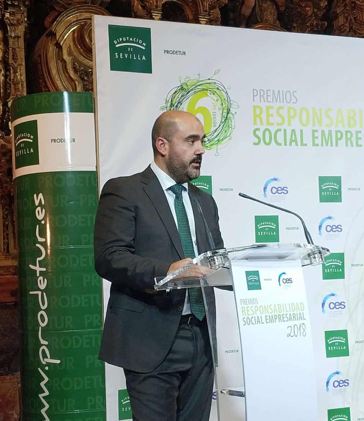 Juan Carlos Rubio en la entrega de premios RSE organizado por CES